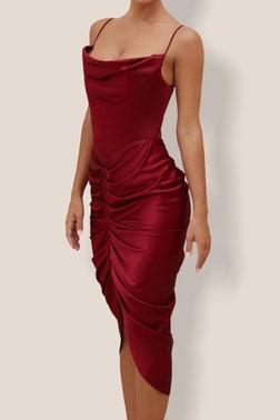 Maroon Vivienne Midi Dress