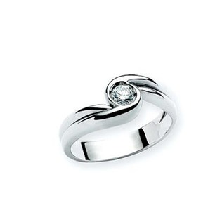 Stone Twirl Stainless Steel Ring