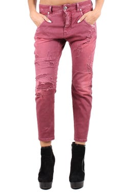 Red Worn Out Cropped Jeans