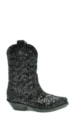Pointed Toe Sequin Ankle Boots