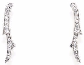 Spine Crystals Silver Embellish Earring