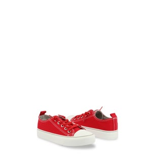Red Canvas Lace Up Kids Sneakers