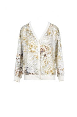 V-Neck Printed Long Sleeve Button Cardigan