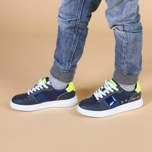 Navy Round Toe Leather Kids Sneakers