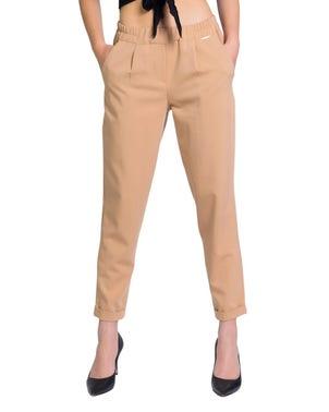 Elastic Waist Pocket Fold Hem Trouser