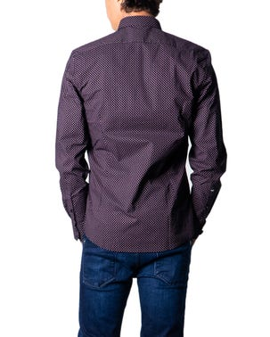 Black Collar Long Sleeve Pattern Shirt