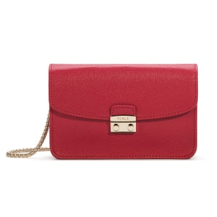 Red Leather Magnetic Flap Crossbody Bag