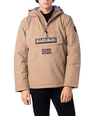 Beige Hooded Zip Embroidered Jacket