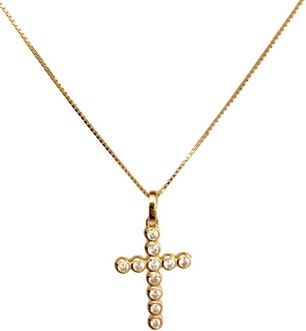 Small Silver Ip Gold Cross Zircons Necklace