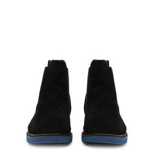Black Leather Elastic Ankle Boots