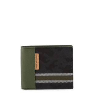 Olive Camo Print Leather Wallet