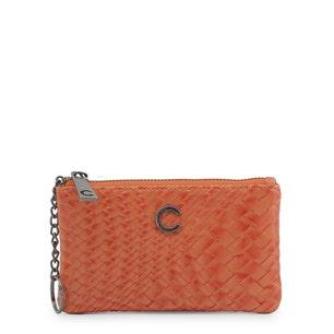 Orange Red Braided Logo Zipper Wallet