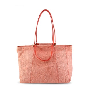 Red Printed Leather Zip Shopping Bag