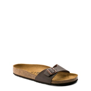 Brown Leather Buckle Strap Flat Sandals