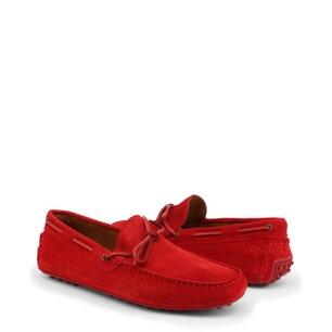 Red Suede Loafer Slip On Moccasin