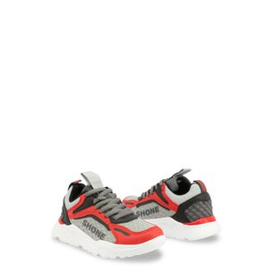 Red Round Toe Lace Up Kids Sneakers