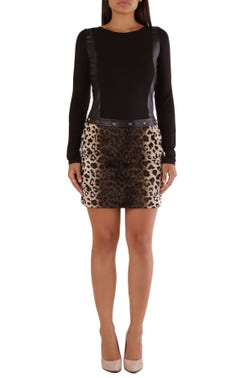 Long Sleeve Leopard Studs Dress