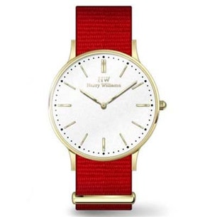 Red Fabric Strap White Dial Analog Watch