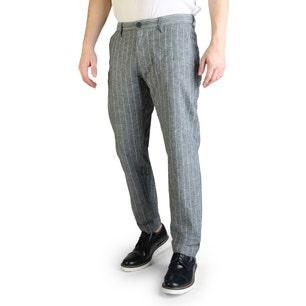 Stripes Button Zipper Casual Trouser