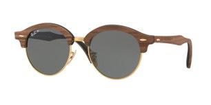 Clubround Wood Full Rim Round Brown Sunglasses