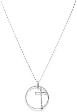 Cross White Circle Pendant Necklace