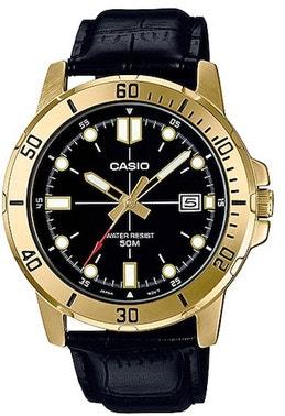 Golden Bezel Diver Leather Strap Watch