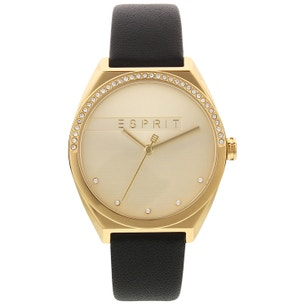 Gold Dial Stone Analog Leather Watch