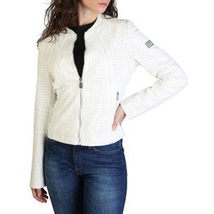White Long Sleeve Laser Cut Zipper Jacket