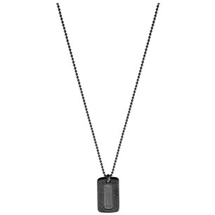 Double Black Dog Tag Stainless Steel Pendant Necklace