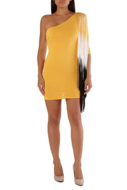 Yellow One Side Shoulder Top Dress