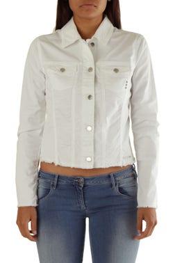 White Long Sleeve Button Crop Blazer