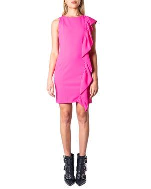 Pink Sleeveless Ruffle Side Dress