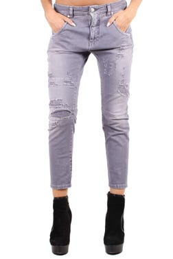 Grey Worn Out Cropped Jeans