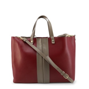 Red Two Handle Leather Shopping Bag