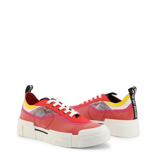 Red Round Toe Low Top Heart Sneakers