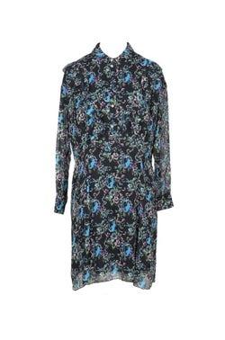 Long Sleeve Button Floral Shirt Dress