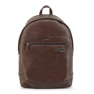 Brown Zipper Leather Logo Backpack