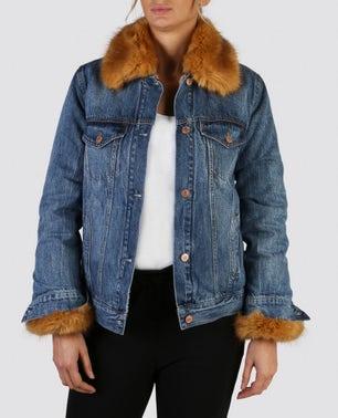 Faux Fur Detailed Denim Jacket