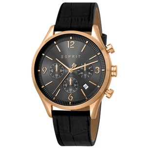 Leather Black Dial Chronograph Watch