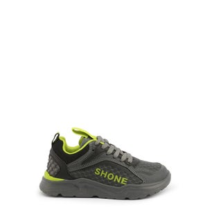 Grey Green Lace Up Kids Sneakers