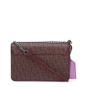 Brown Wood Small Chain Handle Clutch Bag
