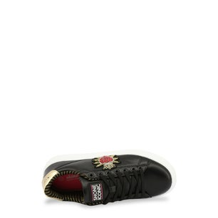 Black Leather Embroidered Sneakers