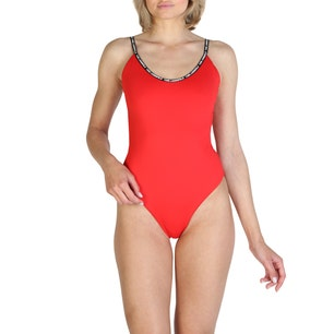 Red Tape Trim One Piece Swimsuit