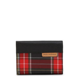Checkered Leather Bi Fold Wallet