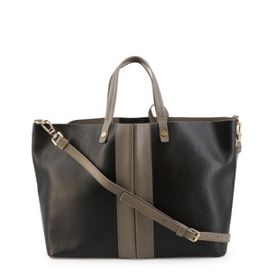 Black Two Handle Leather Shopping Bag
