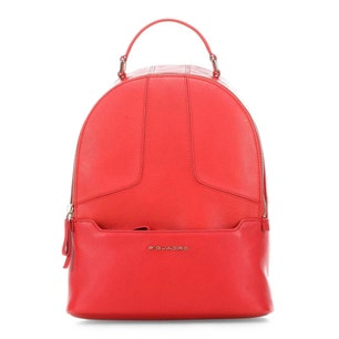 Red Leather Zipper Handle Backpack