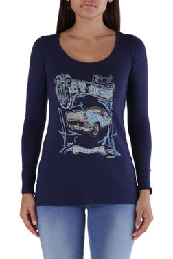 Round Neck Long Sleeve Graphic Top
