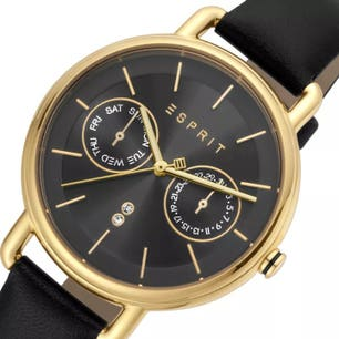 Leather Strap Black Dial Chronograph Watch