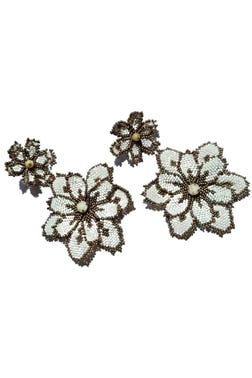 Creme Beaded Maxi Floral Drops Earrings
