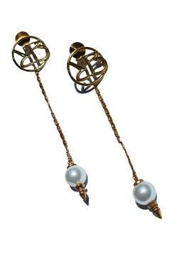 Monogram Long Chain Pearl  Droplets Earrings